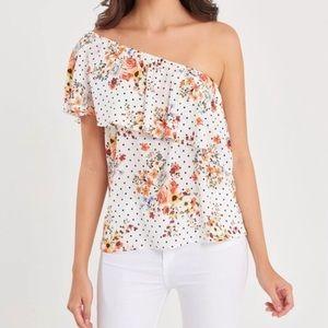Orange Floral Ruffle-Trim Asymmetrical Top